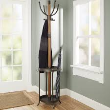 Coat Racks 100 Stories Andreas Wood and Metal Coat Rack with Umbrella Stand 16