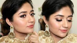 indian festive makeup tutorial golden peach clista you