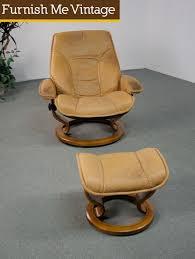 Norwegian vintage office chair Fauteuil Cuir Vinterior Norwegian Ekornes Stressless Chair With Ottoman