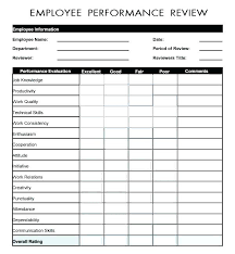 Job Performance Evaluation Form Templates Cool Work Evaluation Template Baniocha