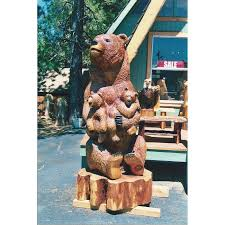 cubs with mother bear chainsaw carving stump sculpture