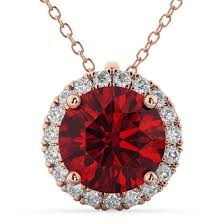 halo round ruby diamond pendant necklace 14k rose gold