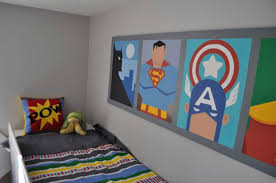 modern superhero themed kids room decor for boys designs ideas with simple grey wall ideas for