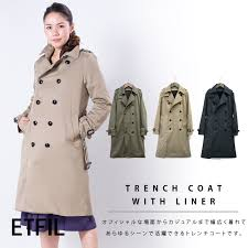 outerwear women s liner with trench coats and all three autumn winter spring trat casual twill outer trench long