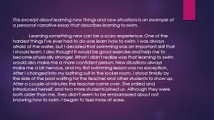narrative essay what is a narrative essay  the focus of a  this excerpt about learning new things and new situations is an example of a personal narrative