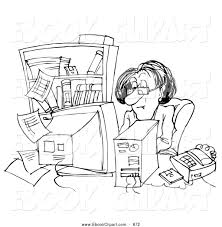 Small Picture Clip Art of a Coloring Page of a Businesswoman at Her Busy Desk by