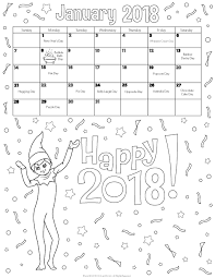 January 2018 Printable Calendar Coloring Pages
