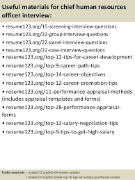 ... 15. Useful materials for chief human resources officer ...