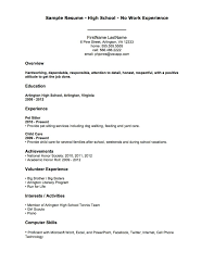 Examples Of Resumes Job Resume Sample And Resume Template For High