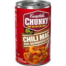 This selection has classic macaroni and cheese, side dishes & other variations! Campbell S Chunky Soup Chili Mac Soup 18 8 Ounce Can Walmart Com Walmart Com