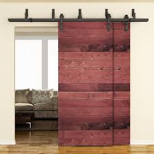 single track byp barn door hardware kit for 2 doors on one track sliding barn door track and rollers 6 double barn door hardware rural king barn door