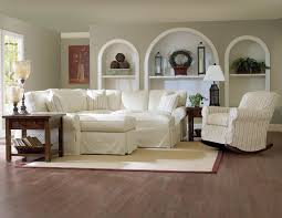 Overstuffed Living Room Furniture Stylish Coastal Living Room Design White Fabric Slipcovered Sofa