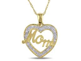 diamond mom heart pendant with chain in 10k yellow gold
