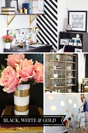 Black and white office decor Industrial Chic Black White Gold Office Inspiration Board Check Out More Ideas And Home Inspiration At Wwwmonicawantsitcom Pinterest Blog Office Makeover Plans The Best Diy Projects Office Makeover