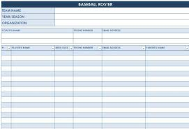 Roster Sheet Template Baseball Roster Template Baseball Lineup Templates