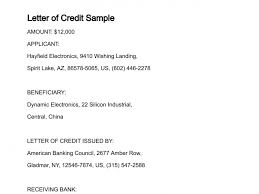 Sample Letter Of Credit