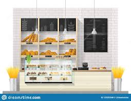 Interior Scene Of Modern Bakery Shop With Display Counter Stock