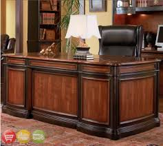 wood office desk. This Grand Style Home Office Collection Is Sure To Make A Bold Statement In Any Office. Crafted From Select Veneers And Hardwood Solids. Desk Features Seven Wood K