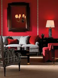 gray and red living room interior design. stylish transitional living room in red [design: american traditions] gray and interior design