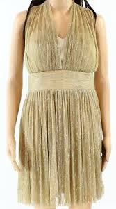 Alexia Admor New Gold Women Size 8 Ruched Pleated Metallic