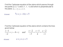 find the cartesian equation of the plane which p through the points 2 2