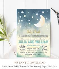 Stars Invitation Template Moon And Stars Baby Shower Invitation F10