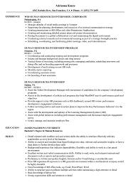 Example Of Resumes For Internships Human Resources Internship Resume Samples Velvet Jobs