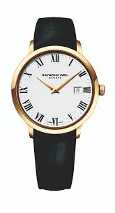 raymond weil toccata men s gold plated black leather strap watch leather strap watch full size image