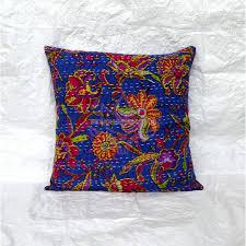 indian cushion cover kantha pillow boho