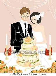 cutting the wedding cake clipart.  Clipart Couple Cutting Their Wedding Cake For Cutting The Wedding Cake Clipart
