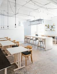 modern, even minimal coffee shop decor decorated with black and neutrals