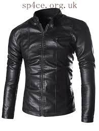zipper embellished stand collar pu leather flocking black wine red men s jackets je743397