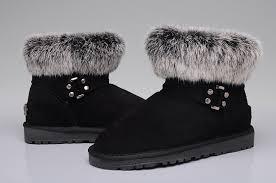 ... Women UGG 5859 Fox Fur Mini Boots Black ...
