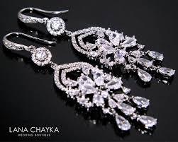 crystal bridal earrings cubic zirconia chandelier earrings wedding cz dangle earrings sparkly crystal earrings prom crystal jewelry 39 50 usd