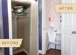 home office in a closet. DIY Office Space - Turn A Tiny Closet Into Charming Home Office! In