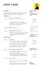 Event Planner Resume Samples Visualcv Resume Samples Database