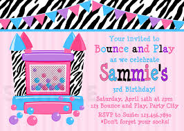 printable birthday invitations girls bounce house party girls printable birthday invites