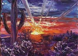 details about original oil painting signed palette knife texture desert cactus bold sunset