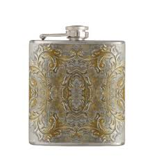 gold vine embossed on silver leather print flask