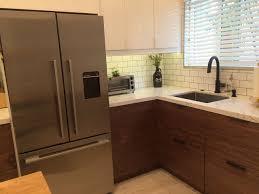 Walnut Doors From Semihandmade Give This IKEA Kitchen A Mid - Mid century modern kitchens