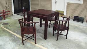 Game Table And Chairs Set Chinese Red Wood Antique Square Carving Game Table Set Wk1939