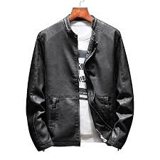 stand collar zip up casual faux leather jacket black