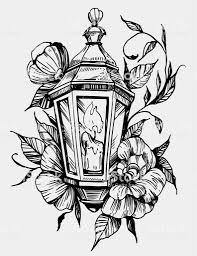 Lantern With Flowers Tattoo Sketch Hand Drawn Illustration Converted To Vector Stock Illustration Download Image Now