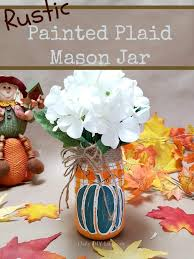 an adorable rustic plaid painted mason jar just in time for fall handpainted and colorful