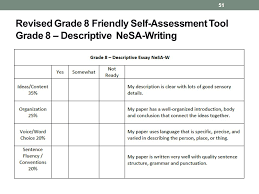 teaching writing nebraska standards writing is not caught it  51 revised grade 8 friendly self assessment tool grade 8 descriptive nesa writing 51