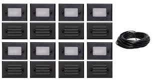 Malibu Led Deck Light Half Brick 8 Pack Of Malibu 8301 2402 01 Half Brick Deck Step Light W 2 Lenses Ea 7 Watt Black Finish 75 Ft Landscape Wire No Transformer Included By