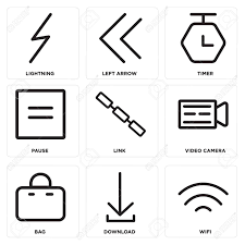 Set Of Simple Editable Icons Such As Wifi Download Bag Video