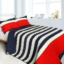 Americana Red Navy Blue White Striped Teen Boy Bedding Full/Queen ... & Americana Red Navy Blue White Striped Teen Boy Bedding Full/Queen Quilt Set  Oversized Bedspread Adamdwight.com