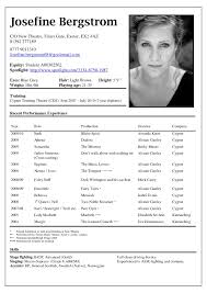 Theater Resume Template New Actors Resume Template Cover Letter