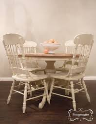 round pedestal dining table four chairs vintage painted furniture chalk paint by annie